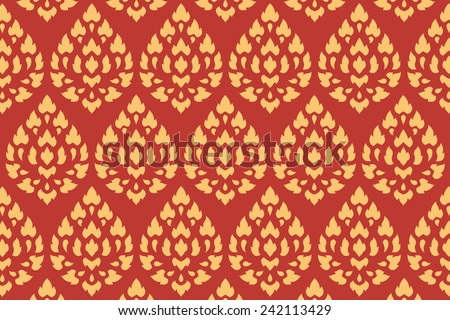 golden thai style pattern traditional art, art decorated in buddhist temple