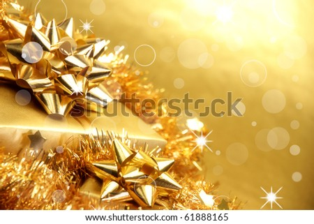 Golden theme with presents - stock photo