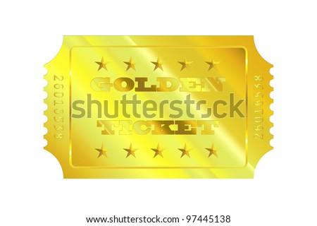 golden ticket - stock photo
