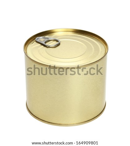 Golden tin can isolated on a white background - stock photo