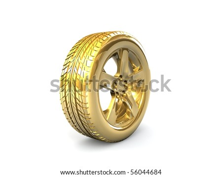 golden tire - stock photo