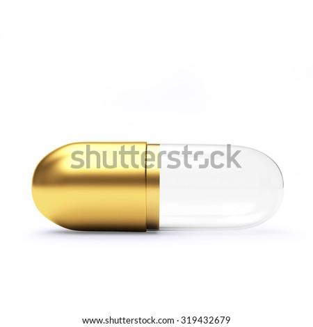 Golden transparent medical capsule isolated on white background  - stock photo