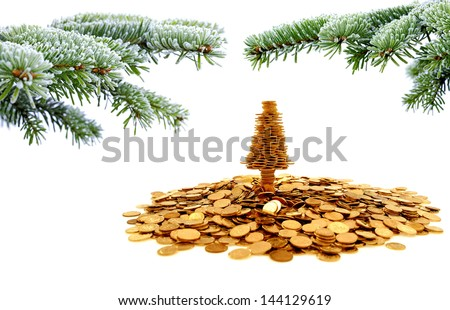 Golden tree of happiness for yours christmas time - stock photo