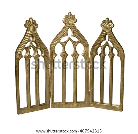 Golden Triptych arches where the center piece is larger than the two flanking pieces - path included - stock photo