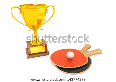 Golden Trophy and tennis racquets on a white background - stock photo