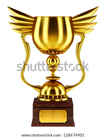 Golden trophy cup - stock photo