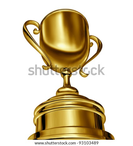 Golden trophy cup award in a dynamic forced perspective camera angle as a success in sports and being first in a competition as a winner and champion of a tournament or sporting event or business. - stock photo