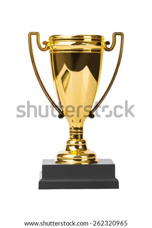 Golden trophy cup isolated on white background - stock photo