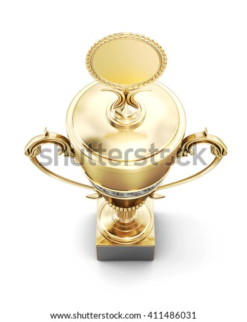 Golden trophy cup isolated on white background. Top view. 3d rendering. - stock photo