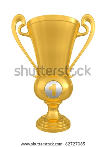 Golden trophy cup on white background. Isolated on a white 3D image - stock photo