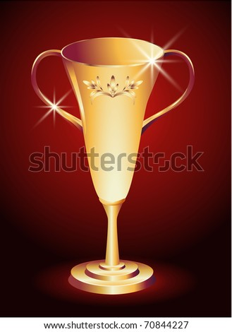 Golden trophy cup with ornament. Raster version of vector. - stock photo