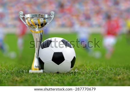 Golden trophy in grass on soccer field background - stock photo