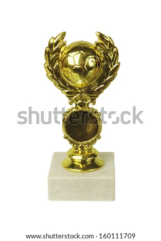 Golden trophy  prize isolated on white - stock photo