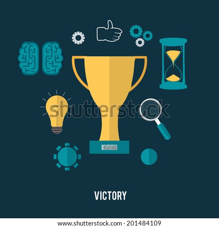 Golden trophy winner cup with icons. Victory concept. Raster version - stock photo