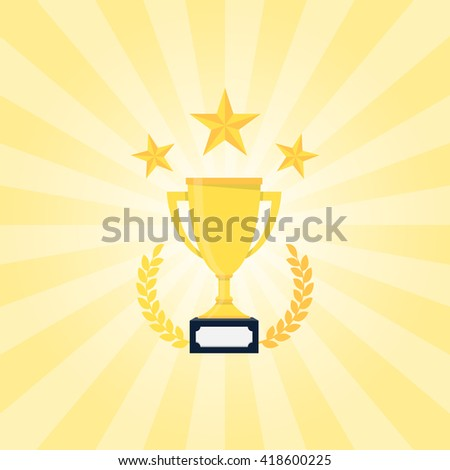 Golden Trophy with laurel wreath and stars. Winner concept competition