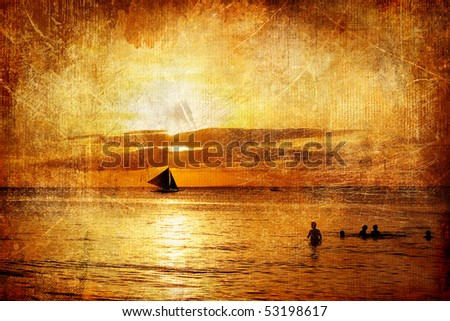 golden tropical sunset - artistic retro styled picture - stock photo