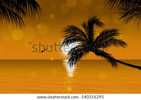 golden tropical sunset background with palm trees birds and sunny blurs - stock photo