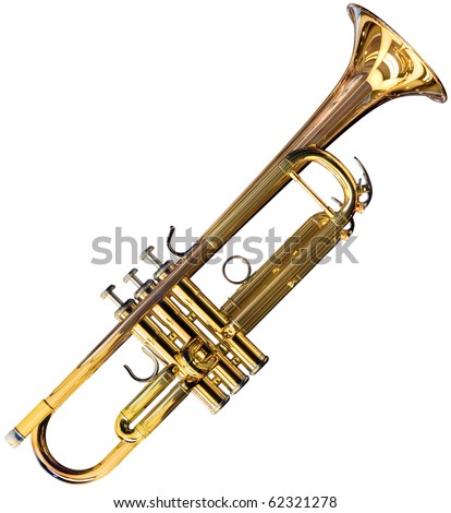 Golden trumpet isolated on white background with clipping path - stock photo