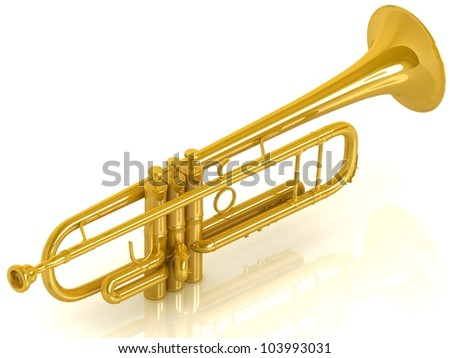 Golden trumpet on white isolated background.