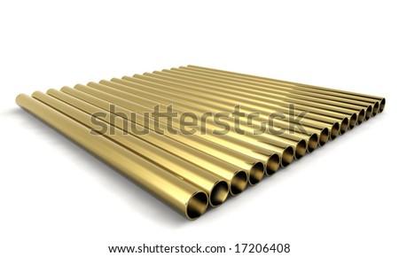 golden tubes isolated on white background - stock photo