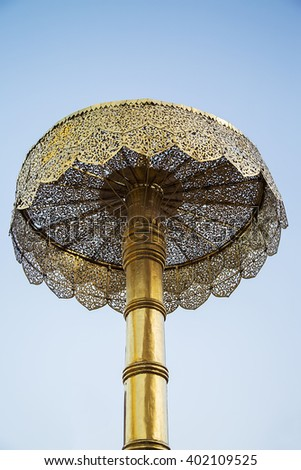 Golden umbrella at the Wat Phra That Doi Suthep temple in Chiang Mai, Thailand - stock photo