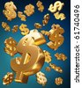 Golden usd dollars falling money concept 3d illustration - stock photo