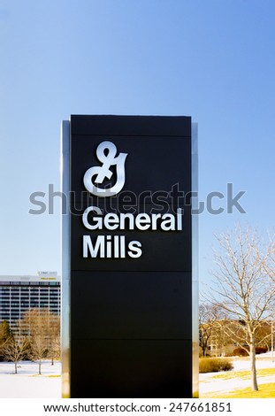 GOLDEN VALLEY, MN/USA - JANUARY 18, 2015: General Mills corporate headquarters and sign. General Mills, Inc. is an American multinational Fortune 500 corporation food products conglomerate. - stock photo