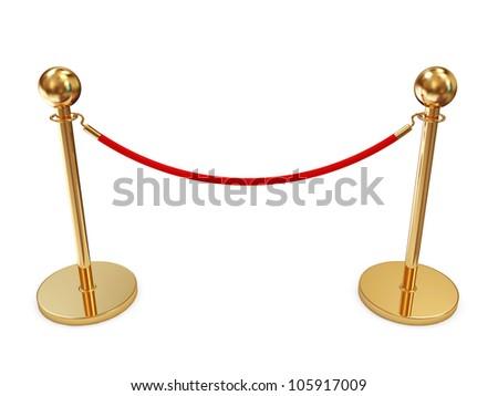 Golden Velvet Rope isolated on white background - stock photo