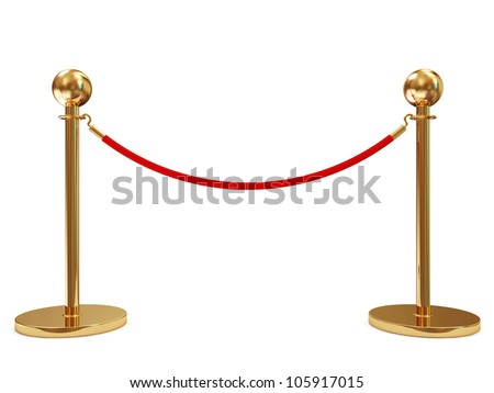 Golden Velvet Rope isolated on white background - stock photo