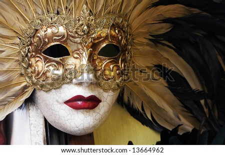 Golden Venetian Carnival Mask With Feathers - stock photo