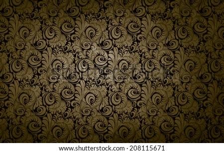 golden victorian vintage seamless pattern background damask texture - stock photo