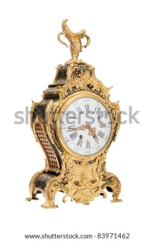 golden vintage clocks, isolated