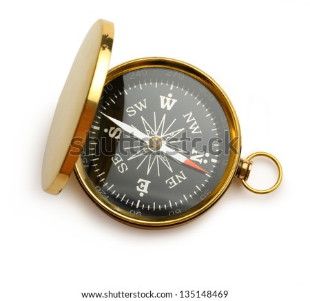 Golden vintage compass - stock photo