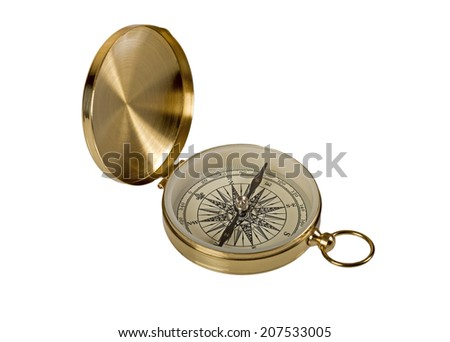 Golden vintage compass isolated on white background - stock photo