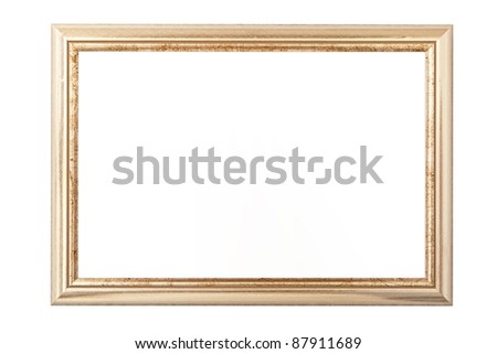 Golden vintage picture frame isolated on white - stock photo
