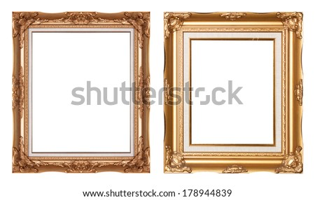 Golden vintage picture frame isolated on white background - stock photo
