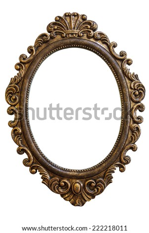 Golden Vintage Style Frame Isolated On White Background - stock photo