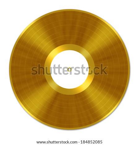 Golden Vinyl Record Label Frame  - stock photo