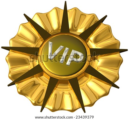 Golden VIP nine legged star with brass, gold and silver, isolated