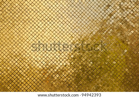 golden wall of thai temple - stock photo