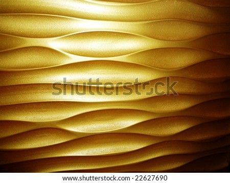 golden wall panel - stock photo