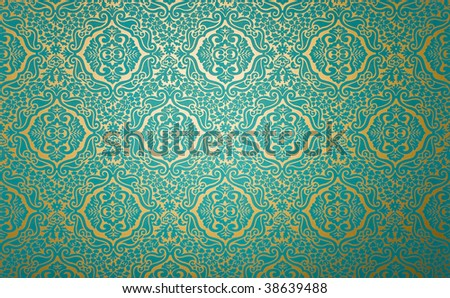 golden wall paper with blue fabric pattern - stock photo