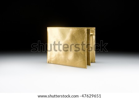 Golden wallet closed - stock photo