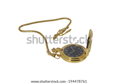 Golden watch on a white background.