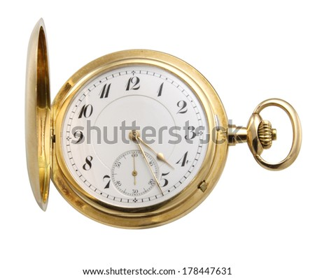 golden watch on white background.   - stock photo