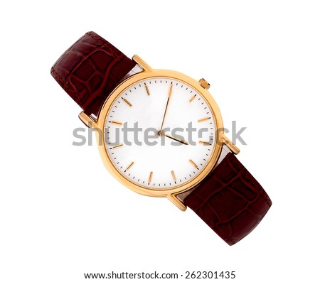 golden watches on white background - stock photo