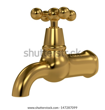 Golden water tap isolated on white