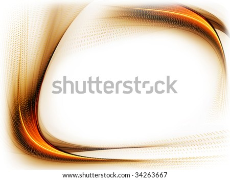 golden wavy  frame with copy  space  on white background, internet concept, binary code data flow, communication - stock photo