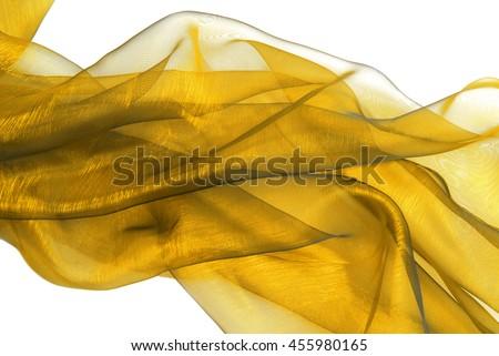 golden wavy organza fabric - stock photo