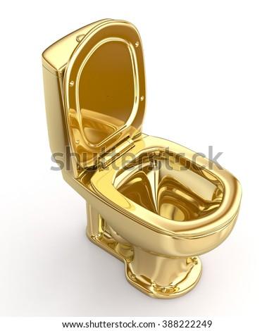 Golden WC toilet - stock photo